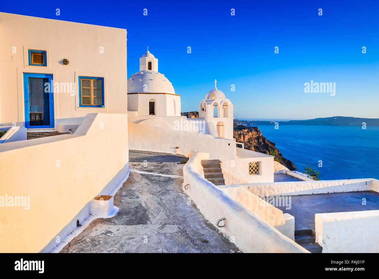 Santorini, Greece. Fira, with old greek church and caldera at Aegean Sea, Thira. - Stock Image