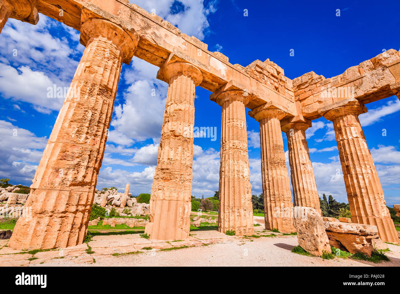 Sicily, Italy. Selinunte, ancient Greek temple of Hera ruins of Doric style architecture. - Stock Image
