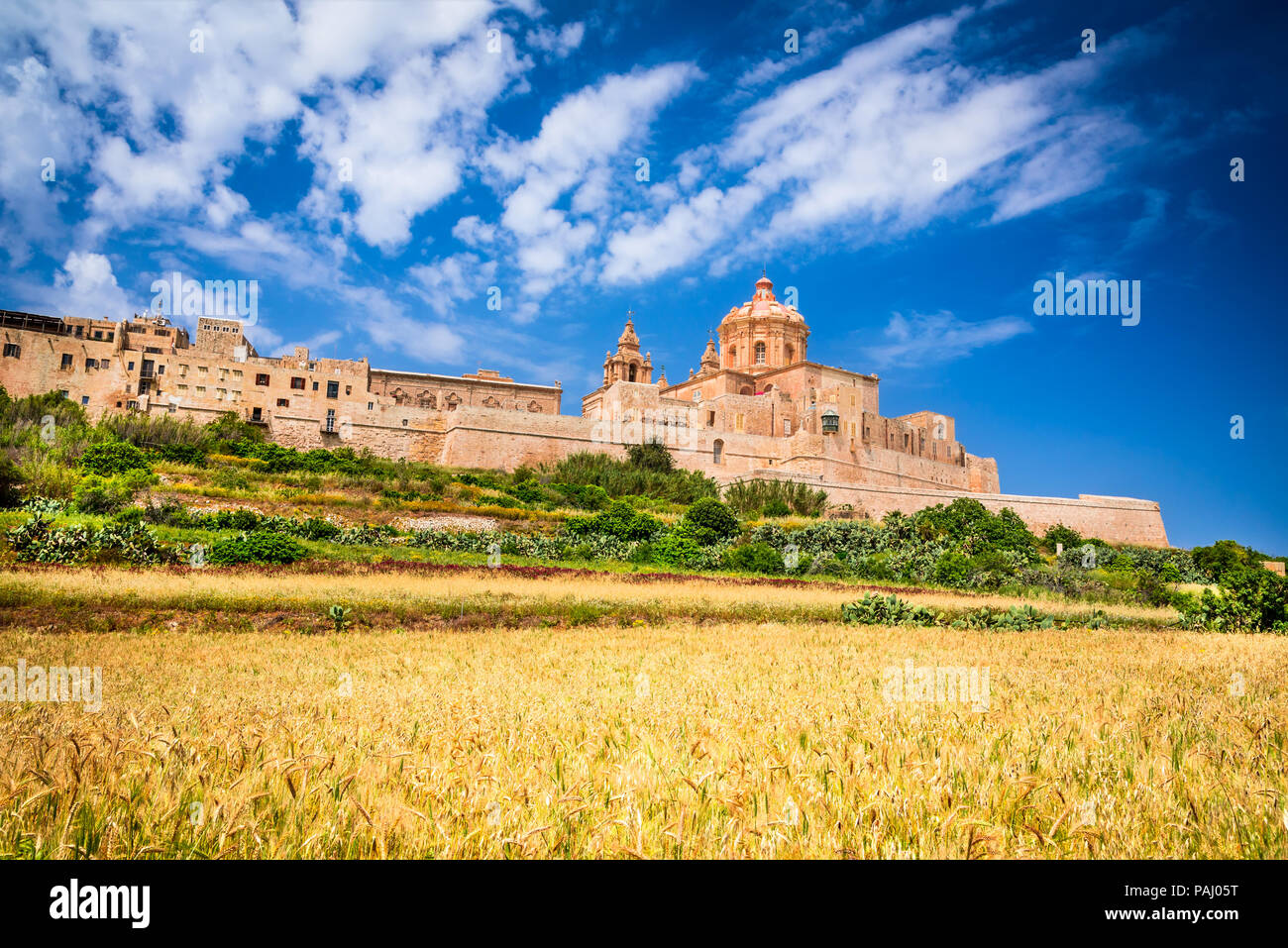 Mdina, Malta - a fortified city in the Northern Region of Malta, old capital of the island. - Stock Image