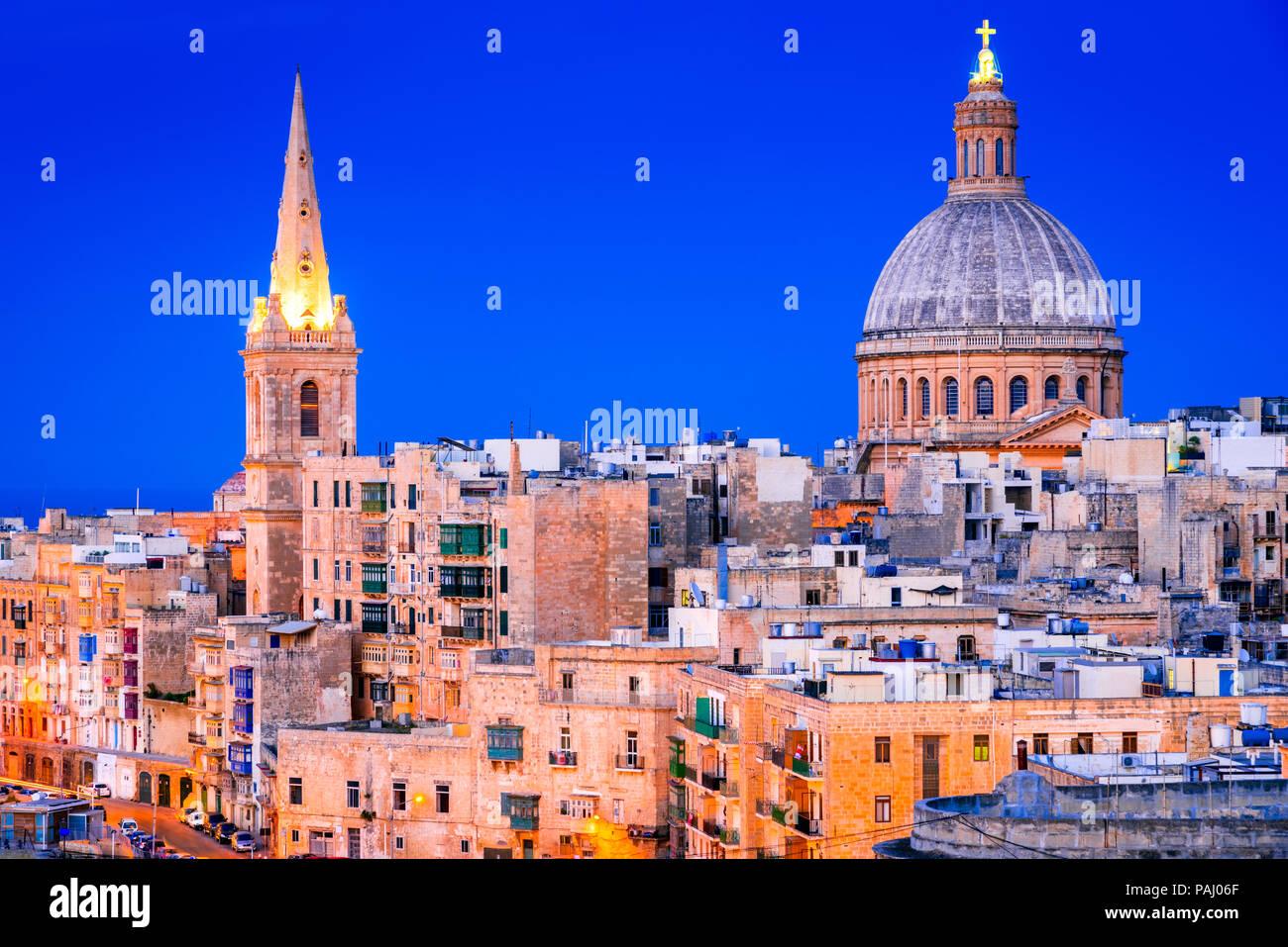 Malta nightview of Marsamxmett Harbour and Silema city, Valletta. - Stock Image