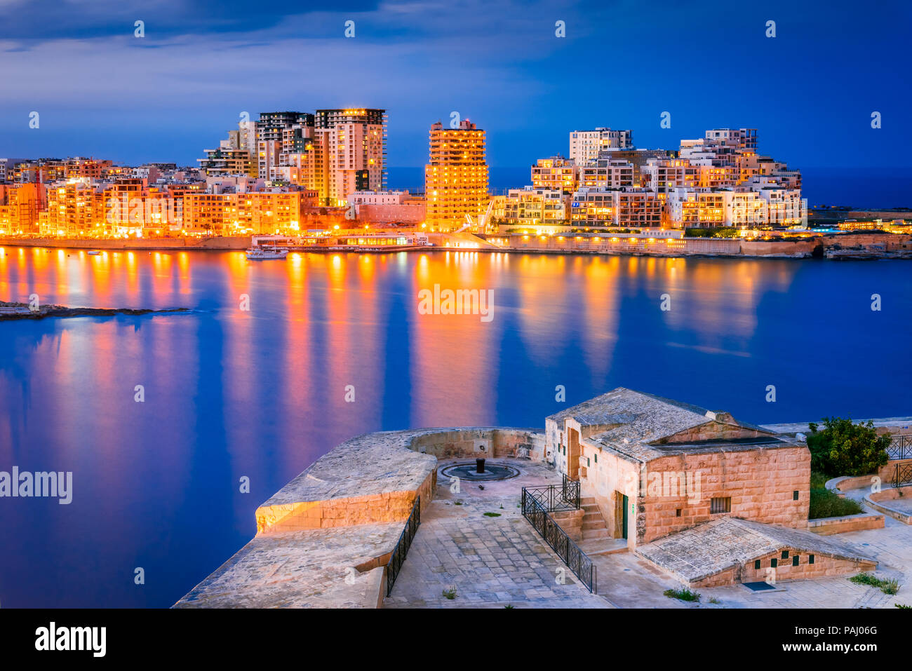 Malta nightview of Marsamxmett Harbour and Silema city, Valletta. Stock Photo