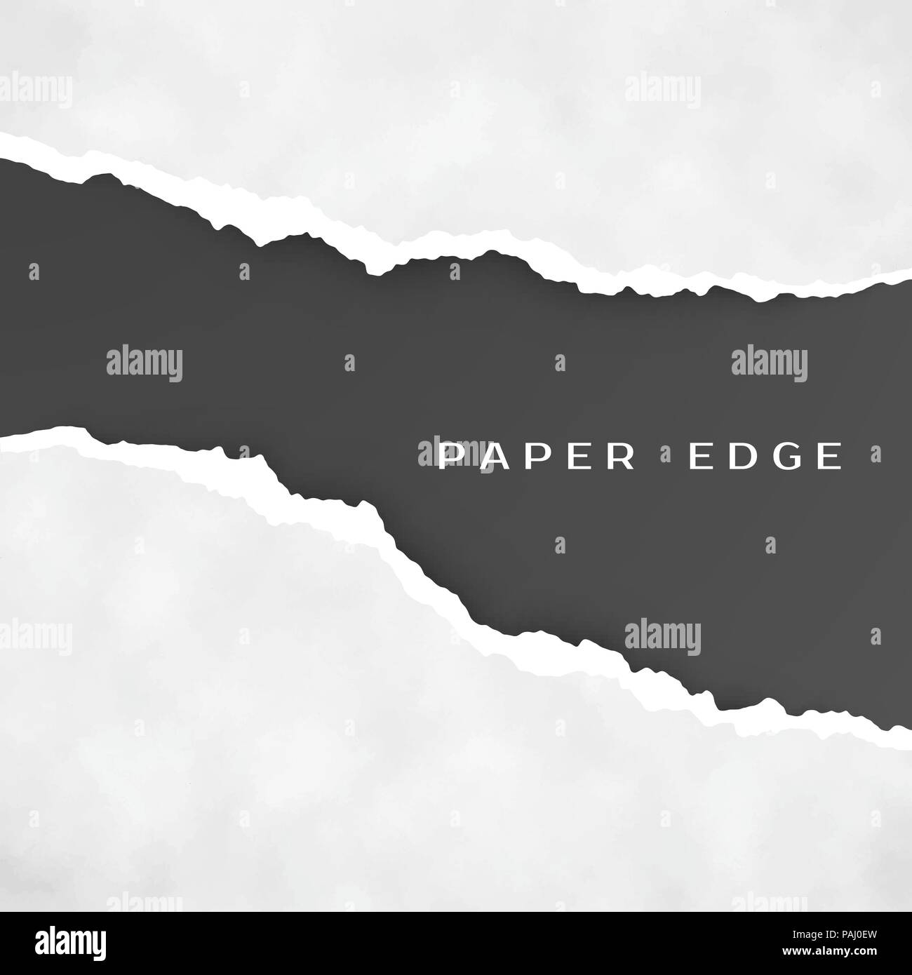 Old gray torn paper isolated over black background. Torn paper edge. Paper texture. Rough broken border of paper stripe. Vector - Stock Vector