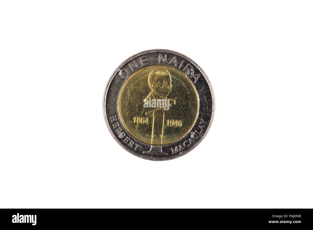 A close up image of a Nigerian one Naira bimettalic coin isolated on a white background - Stock Image