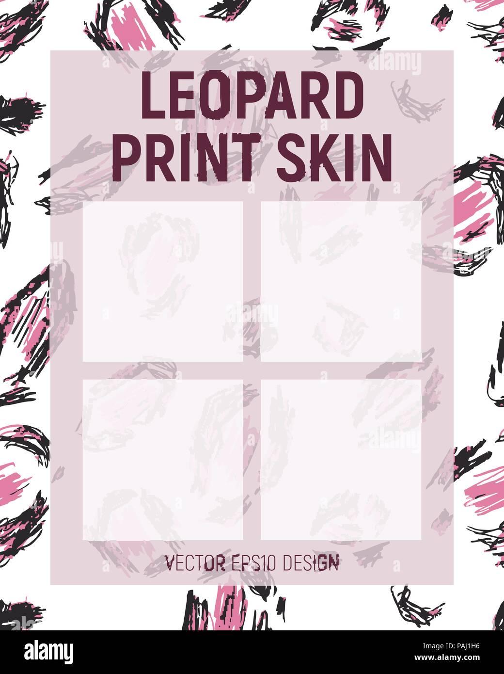 Pink leopard print skin. Leaflet template. Vector illustration. - Stock Vector