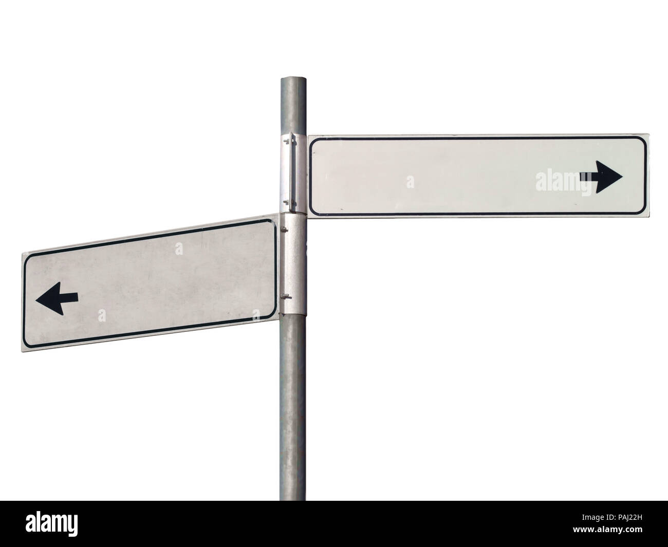 Black and white road sign pointing in two direction, isolated on white. - Stock Image