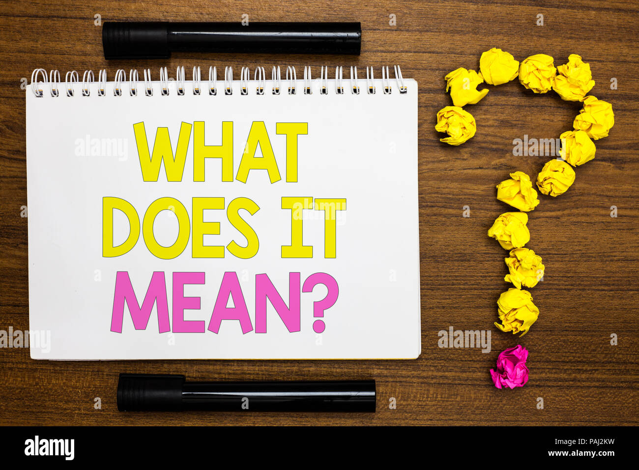 conceptual hand writing showing what does it mean question business