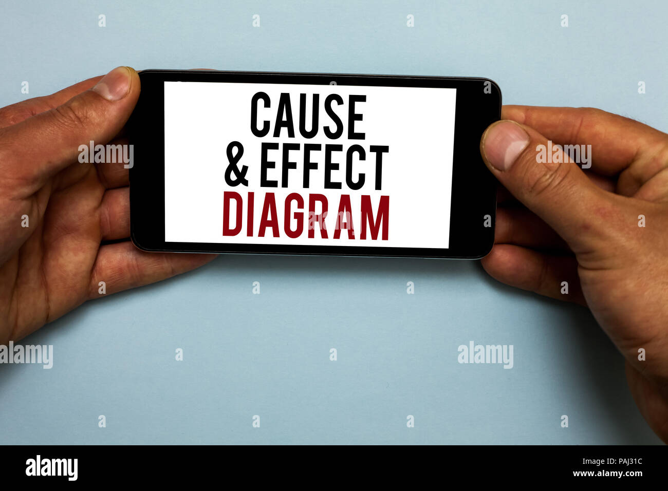 Word writing text Cause and Effect Diagram. Business concept for Visualization tool to categorize potential causes Human hand hold smartphone with red Stock Photo