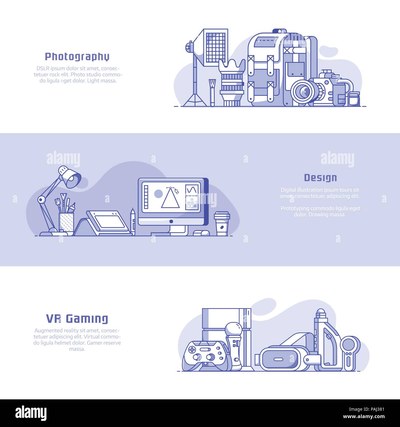 Digital media professions icons and advertising banners. Digital careers concepts with equipment for photography, graphic design and virtual reality p - Stock Vector