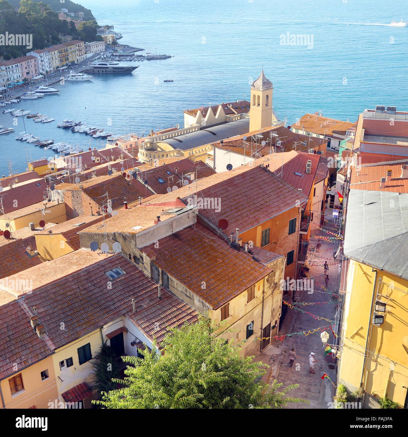 Vista dall alto di Porto Santo Stefano - Grosseto, Italy - Stock Image
