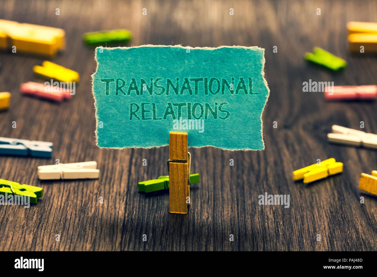 Conceptual hand writing showing Transnational Relations. Business photo showcasing International Global Politics Relationship Diplomacy Paperclip reta - Stock Image