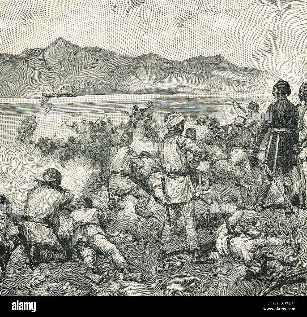 The fight at Kalakala, early May 1884, Abu Girgeh assault on Khartoum, defeated by General Gordon, early in the siege of Khartoum - Stock Image