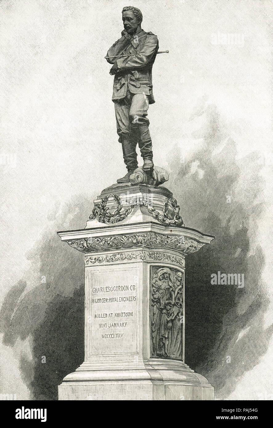 Statue of General Gordon, Gordon of Khartoum, 1833-1885, monument by Sir William Hamo Thornycroft, Trafalgar Square, London, England - Stock Image