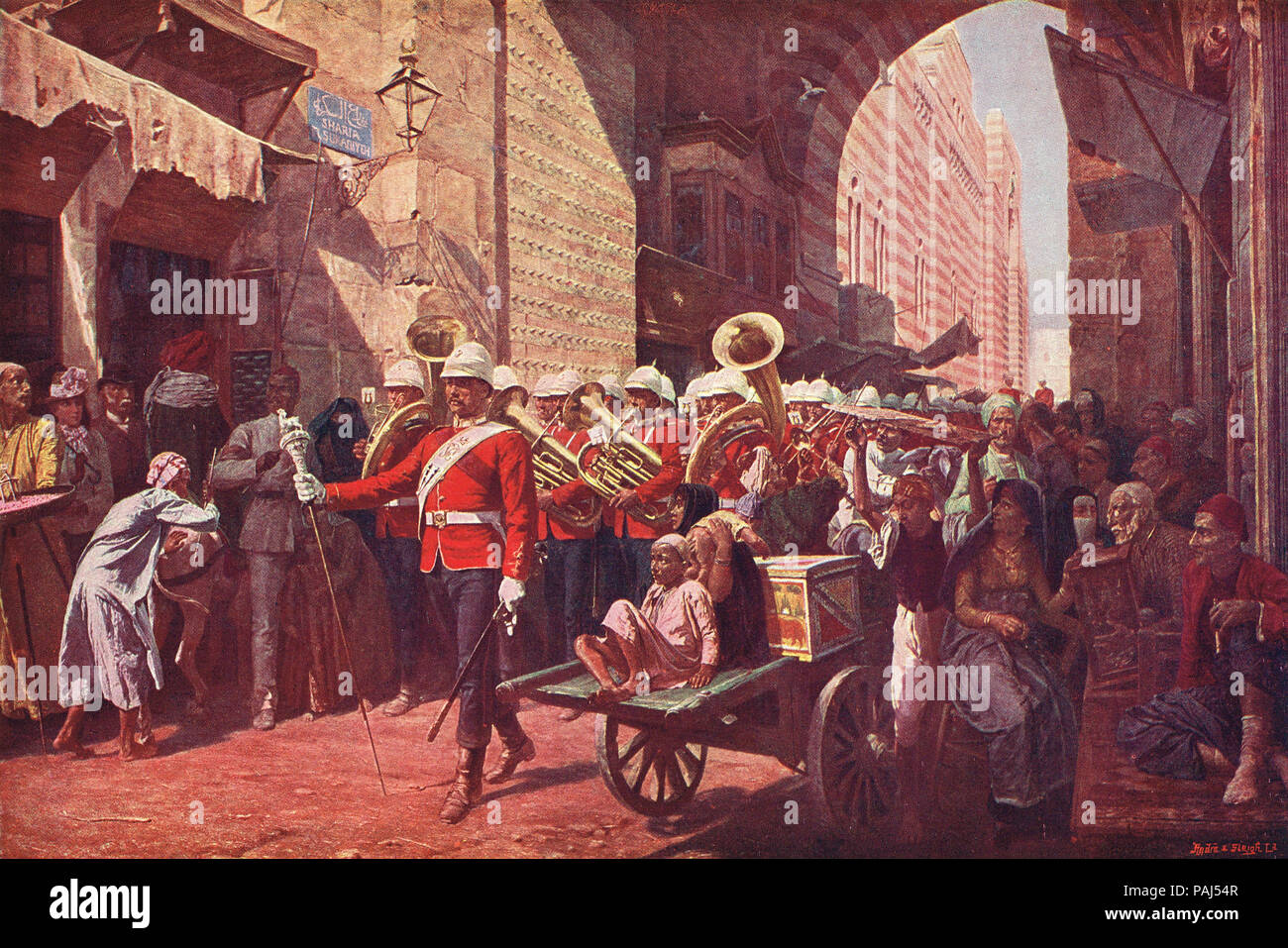 A friendly power in Egypt, The Welsh Regiment, marching through the Metwali gate, Cairo, 1887, during the veiled protectorate - Stock Image