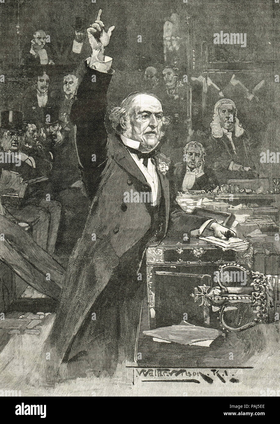 William Gladstone speech, introducing the Home Rule bill, 8 April 1886 - Stock Image