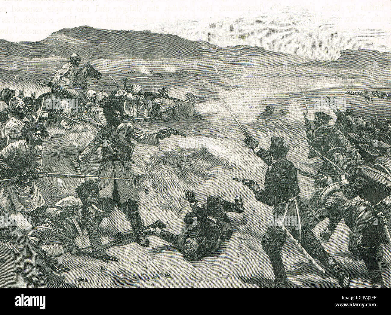 Russian encounter with Afghans, Pul-i-Khishty AKA Brick Bridge, The Panjdeh incident, March 30 1885 Stock Photo