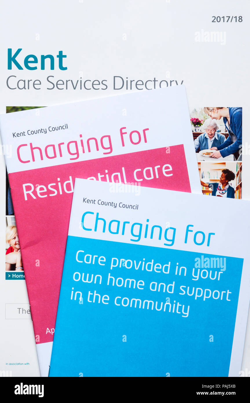 Kent County Council brochures detailing their charges for residential care and care in the home. - Stock Image