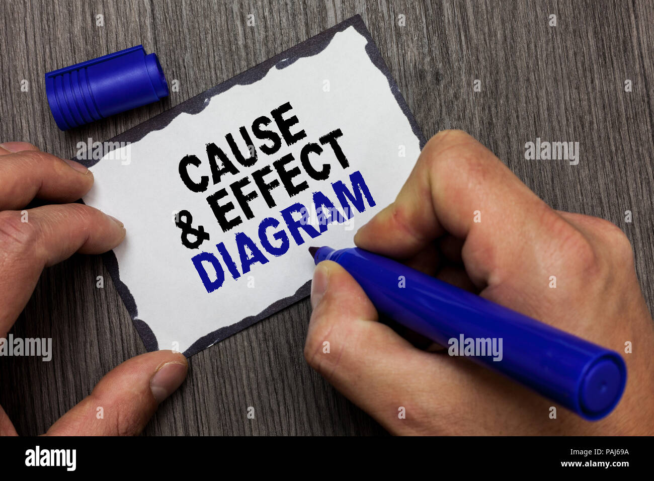 Handwriting text Cause and Effect Diagram. Concept meaning Visualization tool to categorize potential causes Gray wooden deck hand hold black marker w Stock Photo