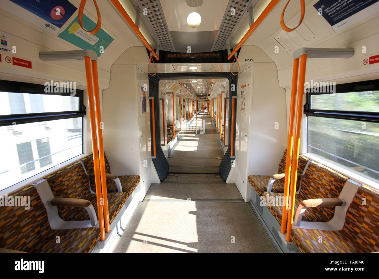 Empty train during Heatwave in London - Stock Image