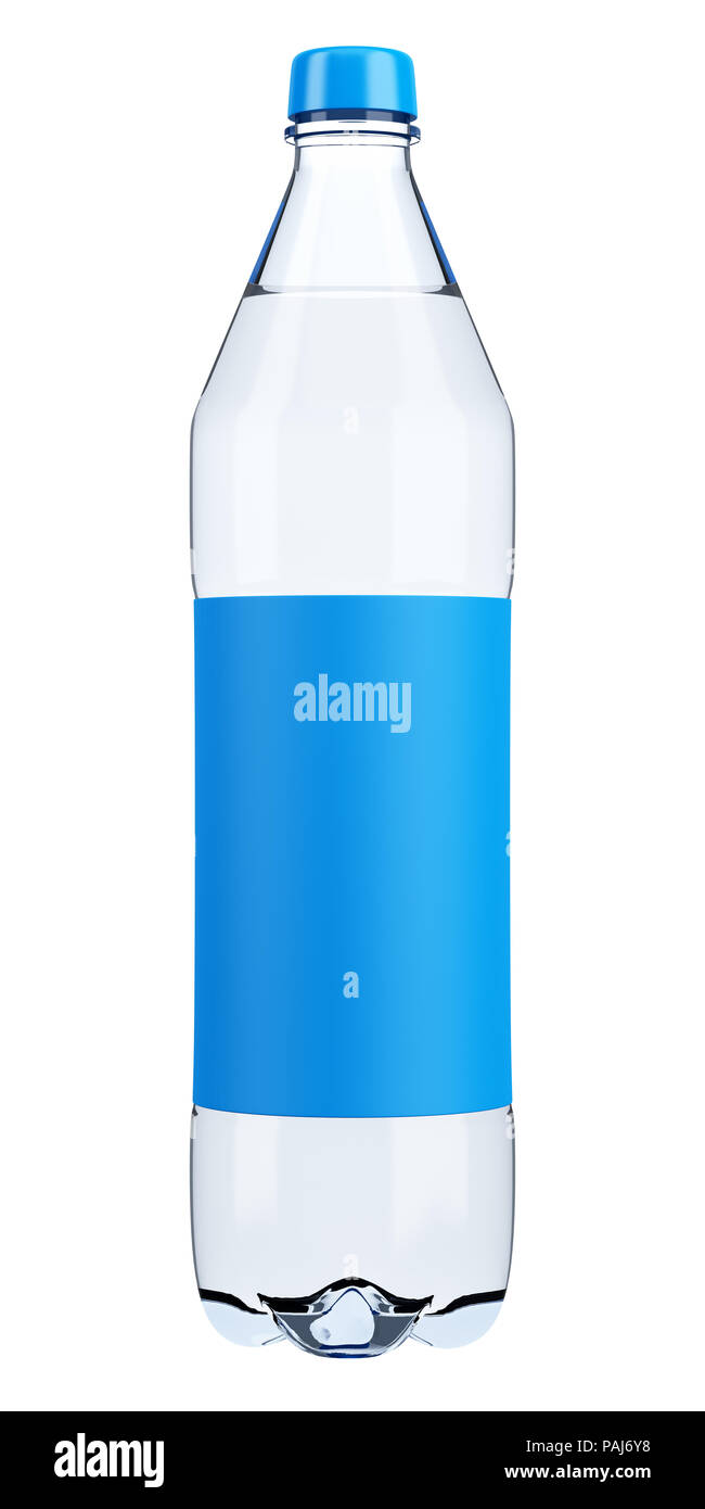 Plastic Water Bottle With Blank Label Template Isolated On White