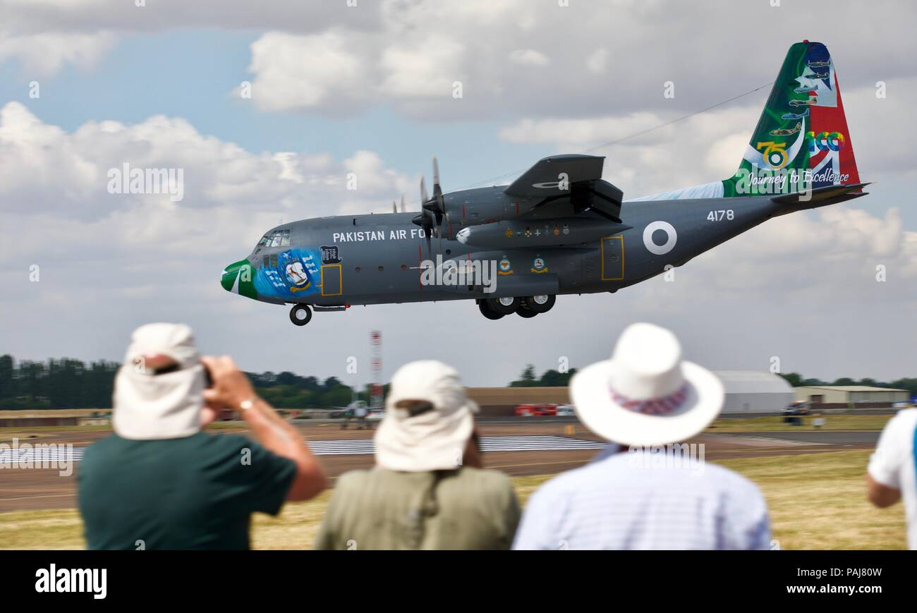 Pakistan Air Force Lockheed C 130E Hercules arriving at RAF