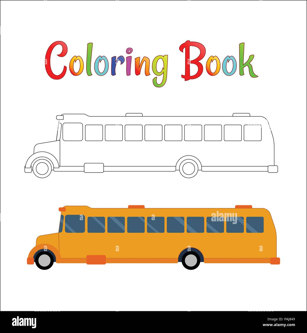 School Bus Coloring Page Back To Concept Kids Vector Illustration
