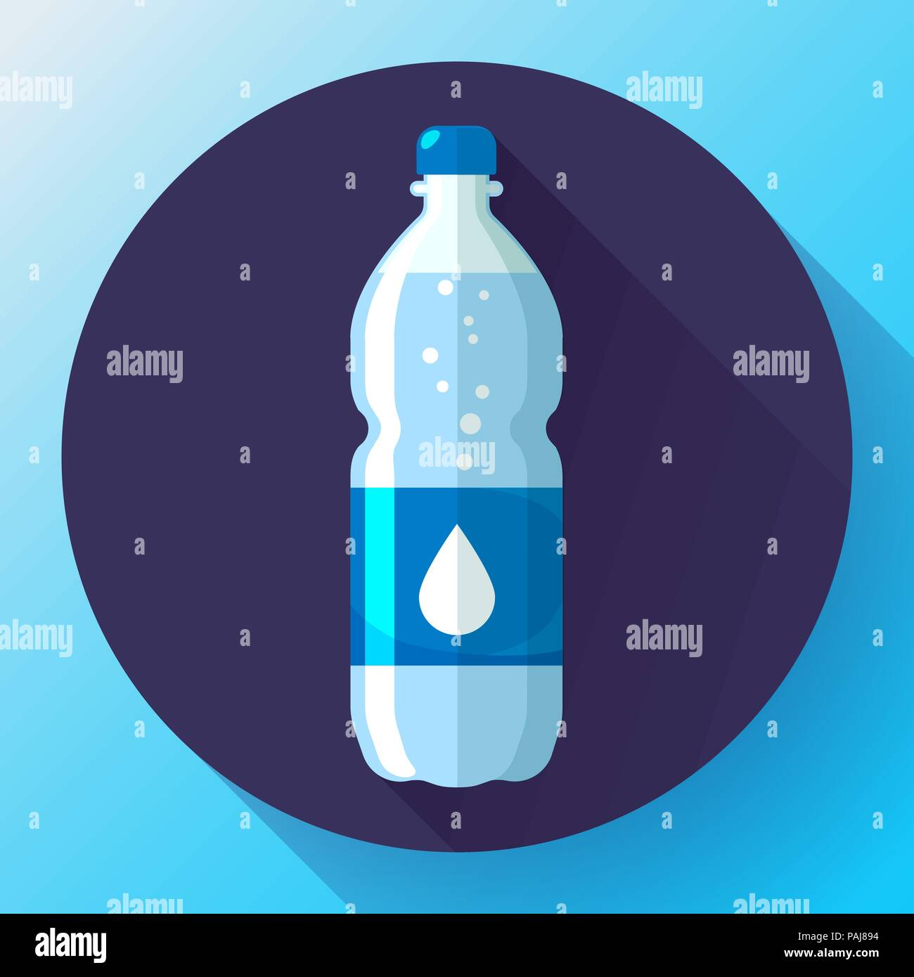 Bottle of water icon in flat style on blue background Vector illustration - Stock Vector