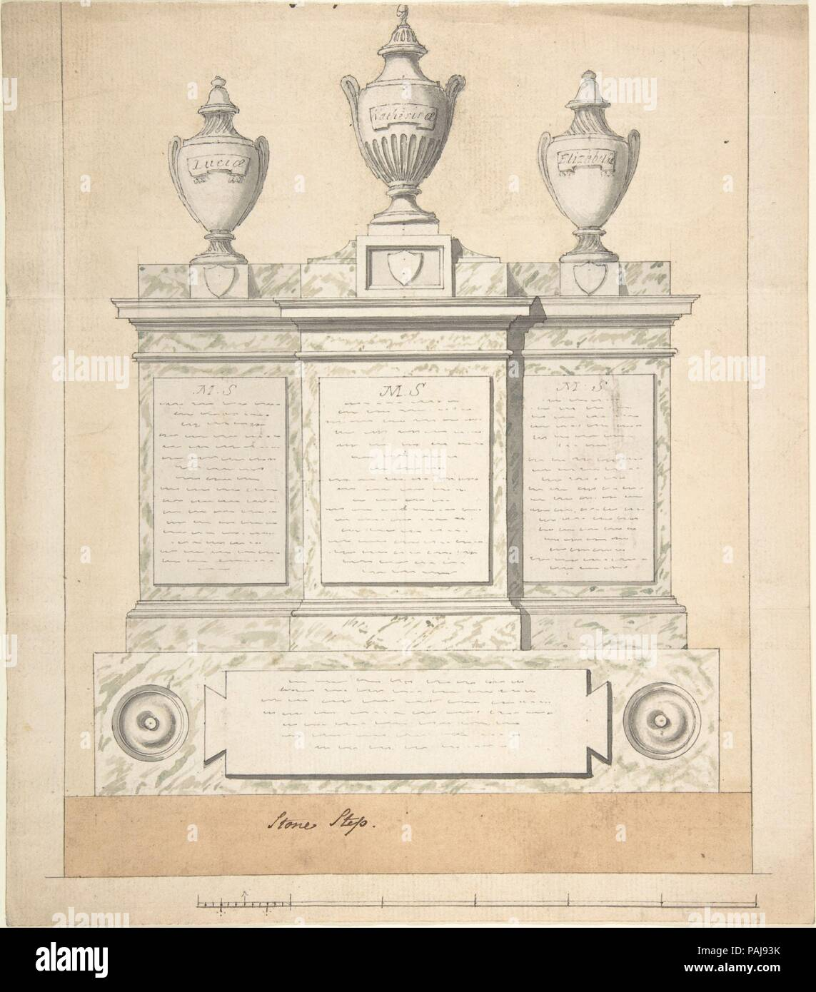 Design for a Monument to the Three Wives of the First Earl of Guilford, at Wroxton, Oxfordshire. Artist: Joseph Wilton (British, London 1722-1803 London). Dimensions: sheet: 10 x 9 in. (25.4 x 22.9 cm). Date: 1783. Museum: Metropolitan Museum of Art, New York, USA. - Stock Image