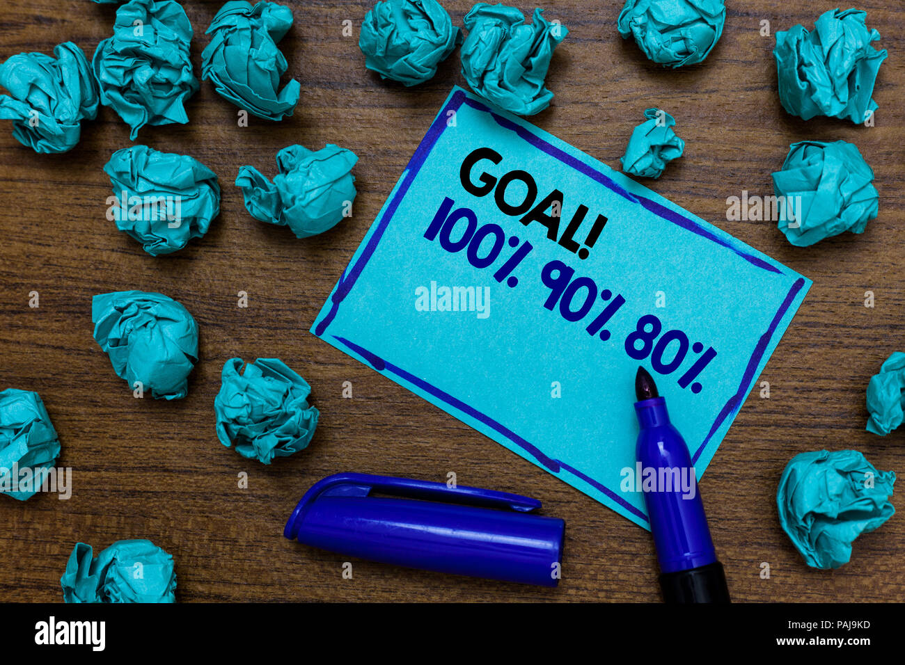 Conceptual hand writing showing Goal 100 90 80. Business photo showcasing Percentage of your objectives fulfilment success level written blue letters  - Stock Image