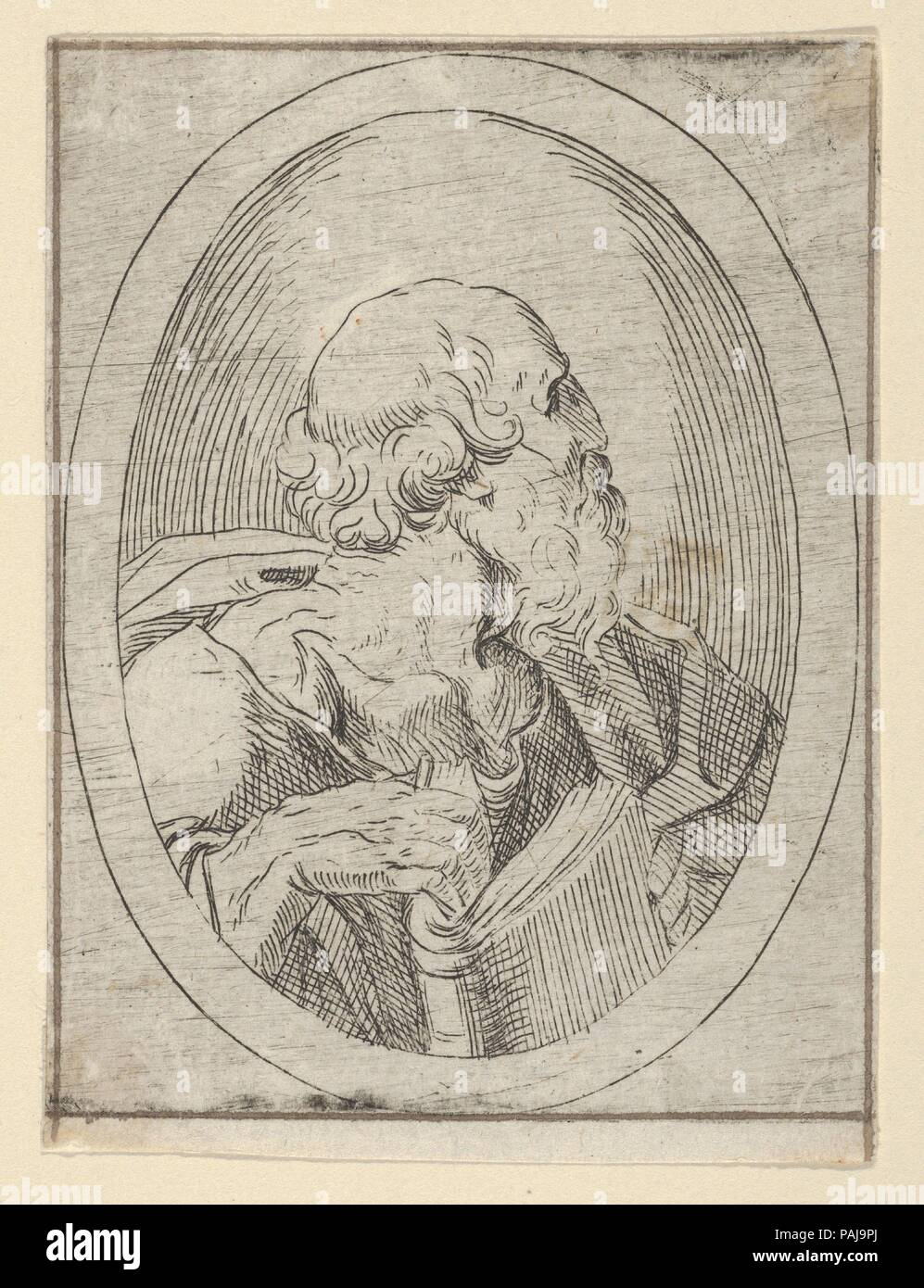 An apostle seen in profile facing right, holding an open book, in an ...