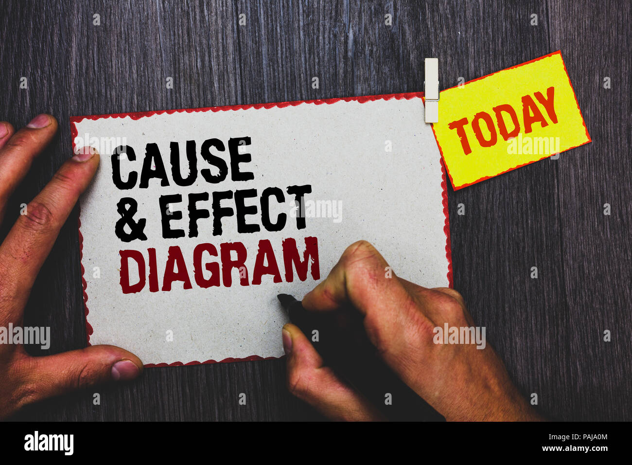 Handwriting text writing Cause and Effect Diagram. Concept meaning Visualization tool to categorize potential causes Hand grip black marker writing te Stock Photo