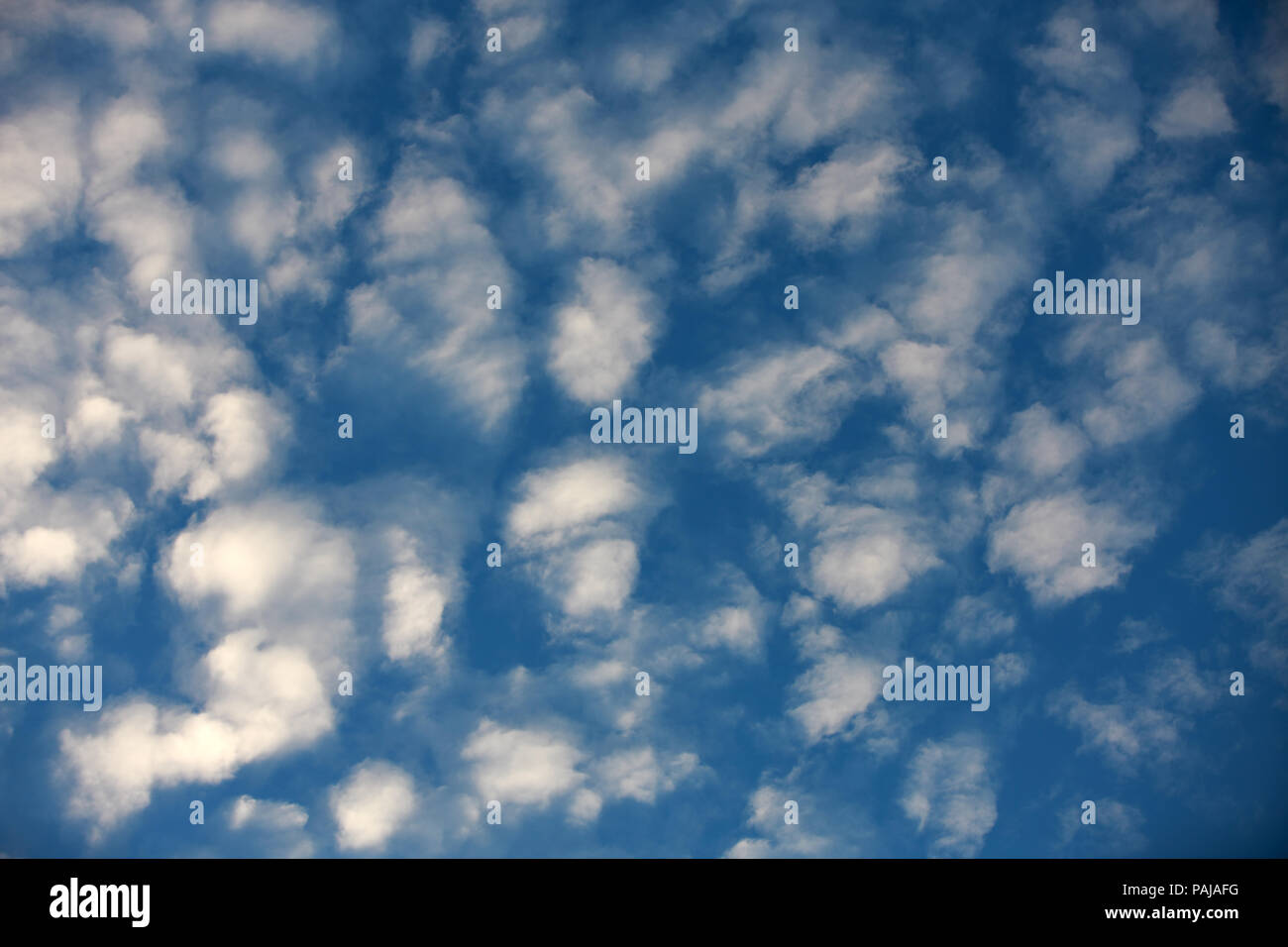 White Fair-weather clouds on a blue sky - Stock Image