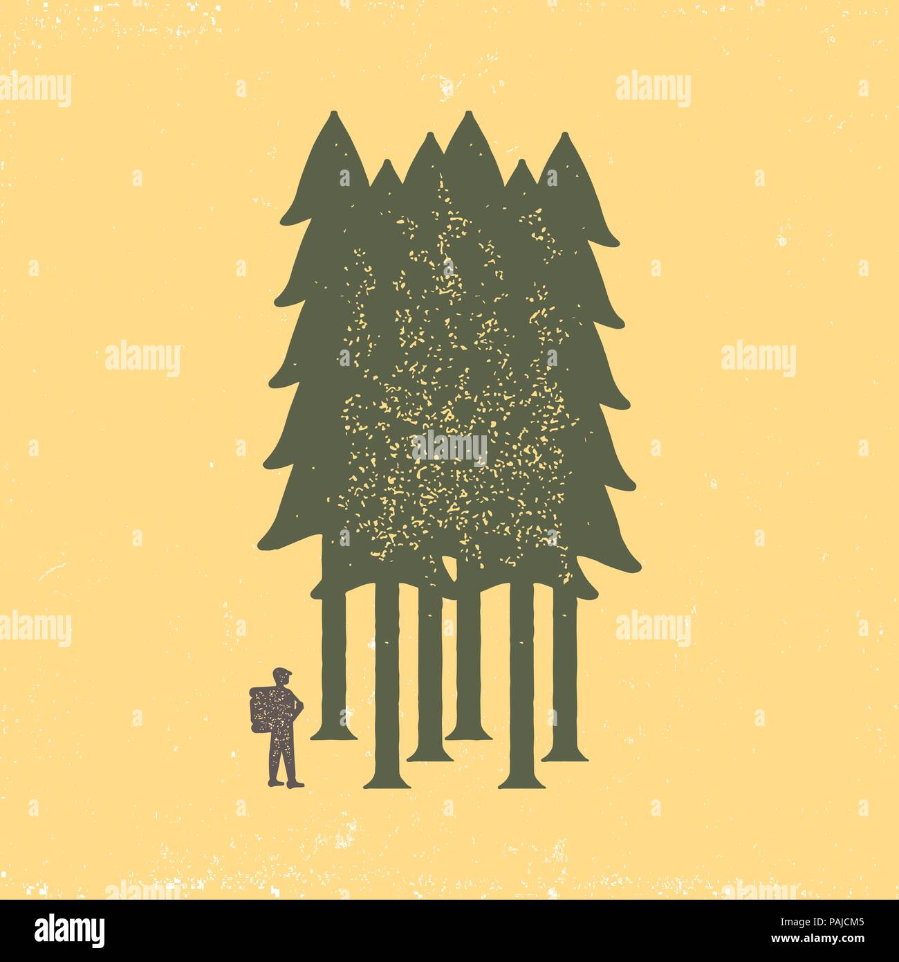Vintage poster of the tourist-traveler in the forest on a yellow background. Grunge badge, typogrphic symbol suitable for T-shirts or print. Isolated  Stock Vector