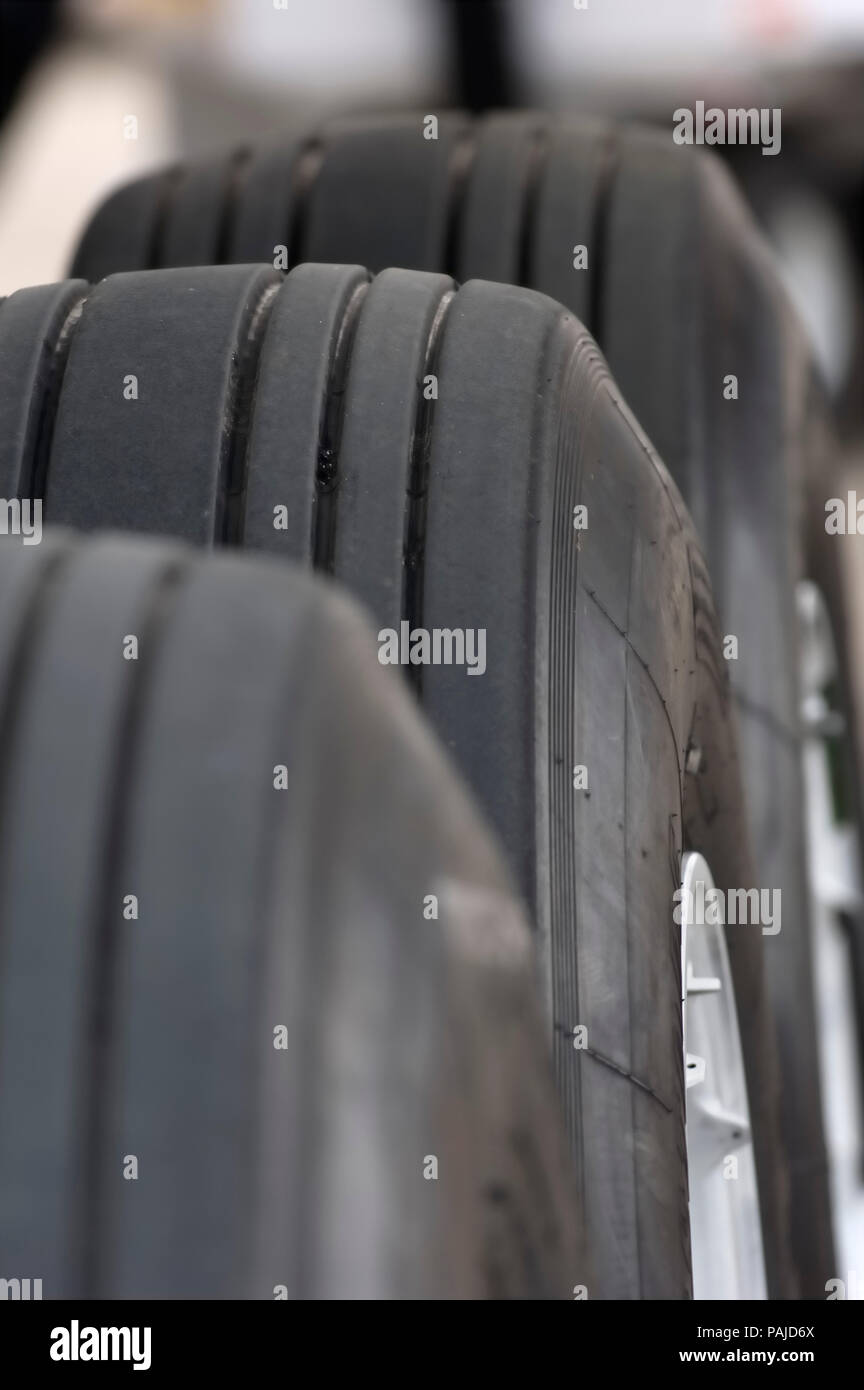 tread on main undercarriage tyres at the 2005 Paris AirShow, Salon-du-Bourget Stock Photo