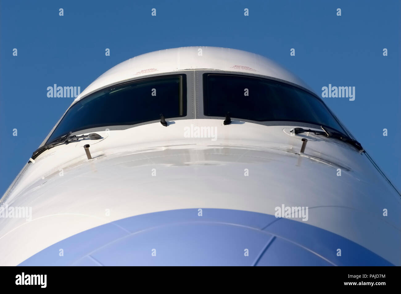 nose and windshield at the 2005 Paris AirShow, Salon-du-Bourget Stock Photo