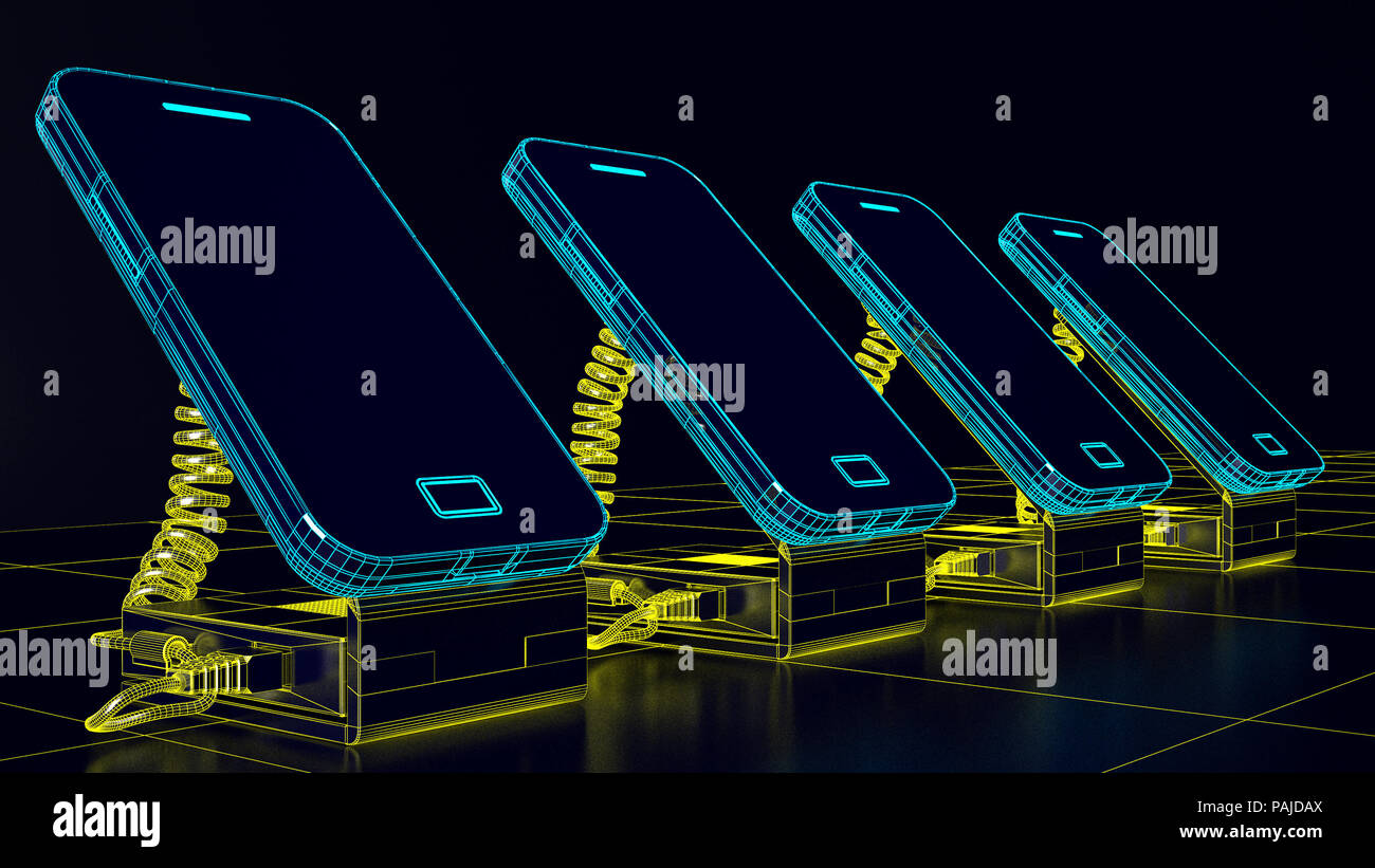 Futuristic smartphone and technological advancement - Stock Image