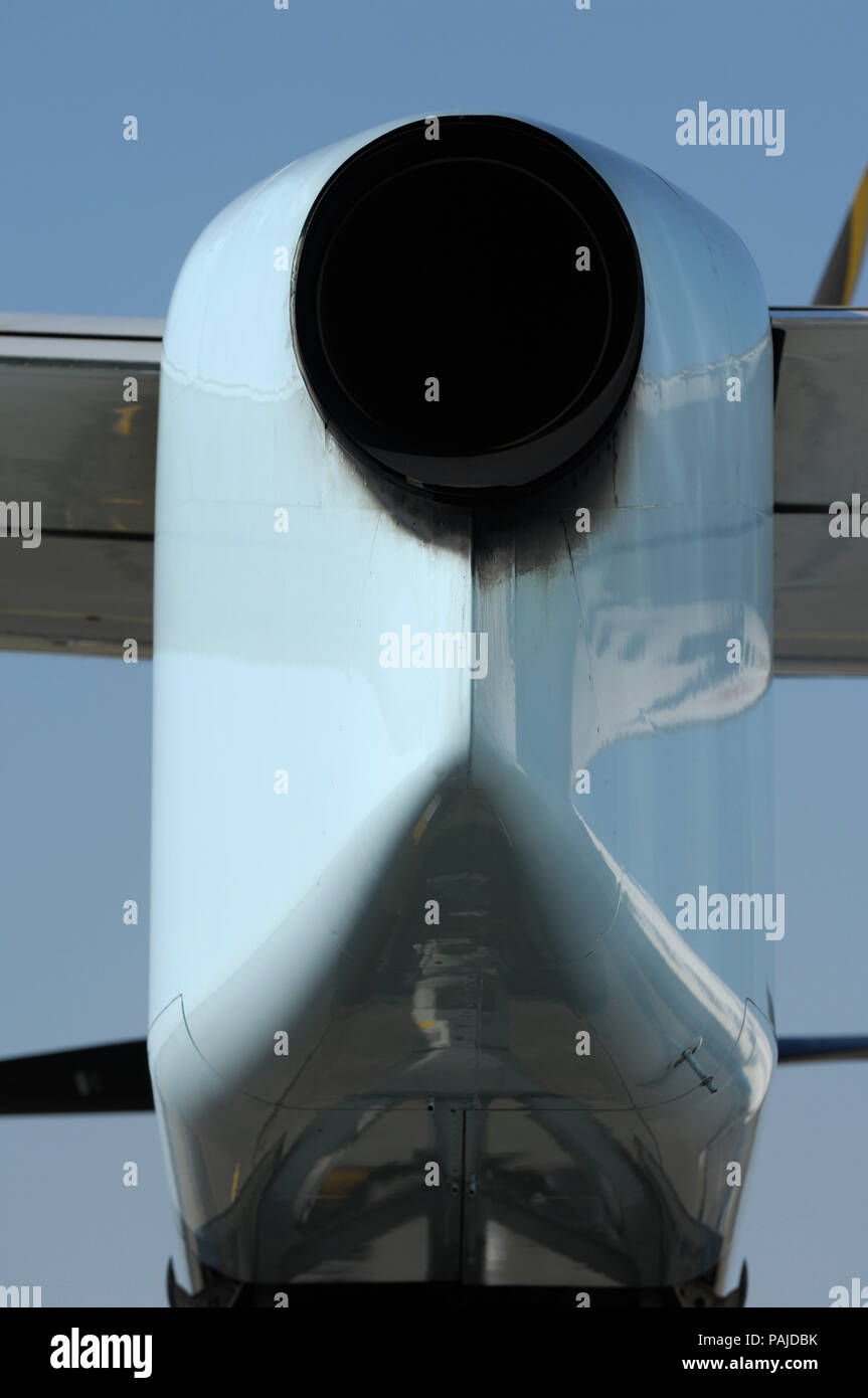 PW150A engine exhaust of the Austrian Arrows Bombardier DHC-8 Dash 8-400 Q400 at the 2006 Farnborough International Airshow - Stock Image