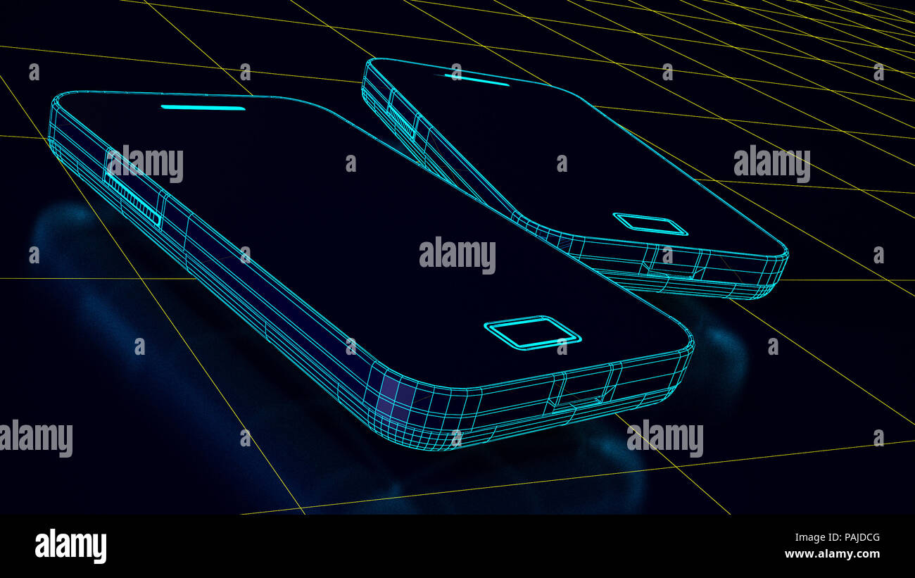 Futuristic smartphone and technological advancement wiireframe - Stock Image
