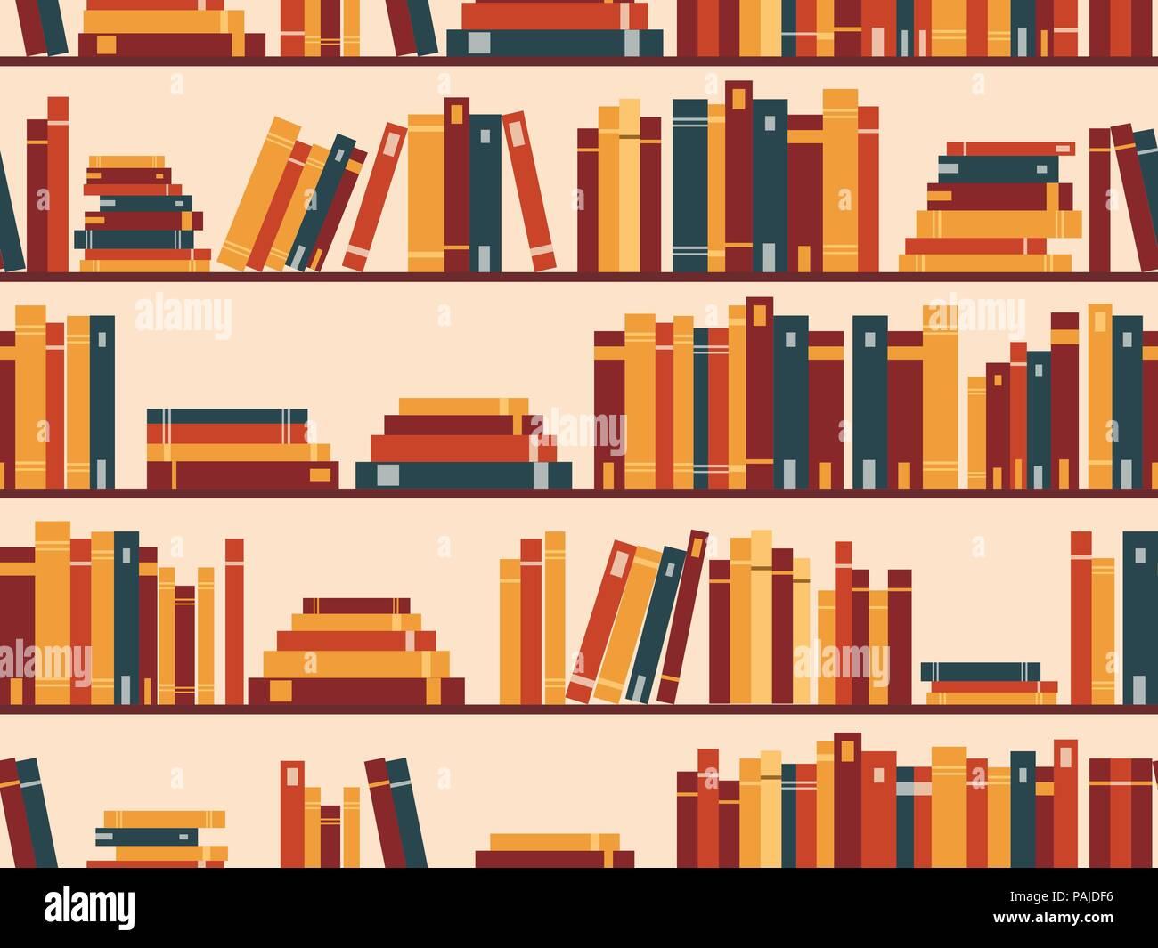 Seamless pattern with books, library bookshelf. Vector illustration - Stock Vector