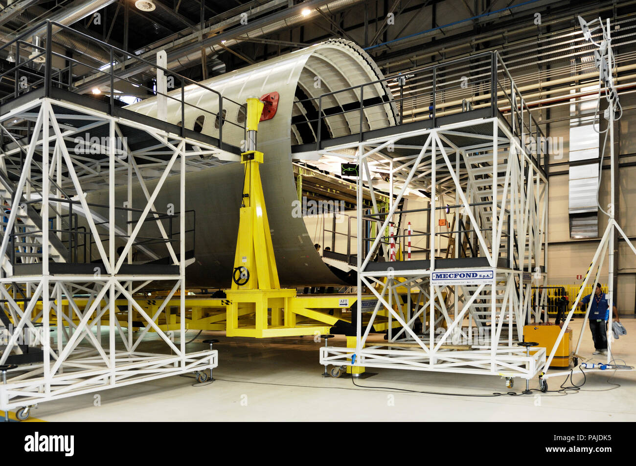 A Boeing 787 centre fuselage one-piece-barrel in production-line at the Alenia Grottaglie Factory Stock Photo