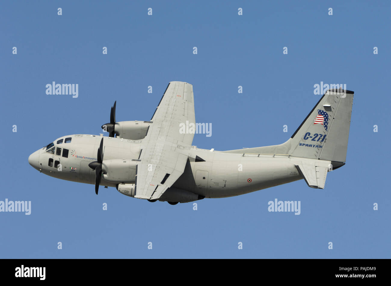 Italy - AirForce Alenia C-27J Spartan flying-display at the Dubai AirShow 2007 Stock Photo