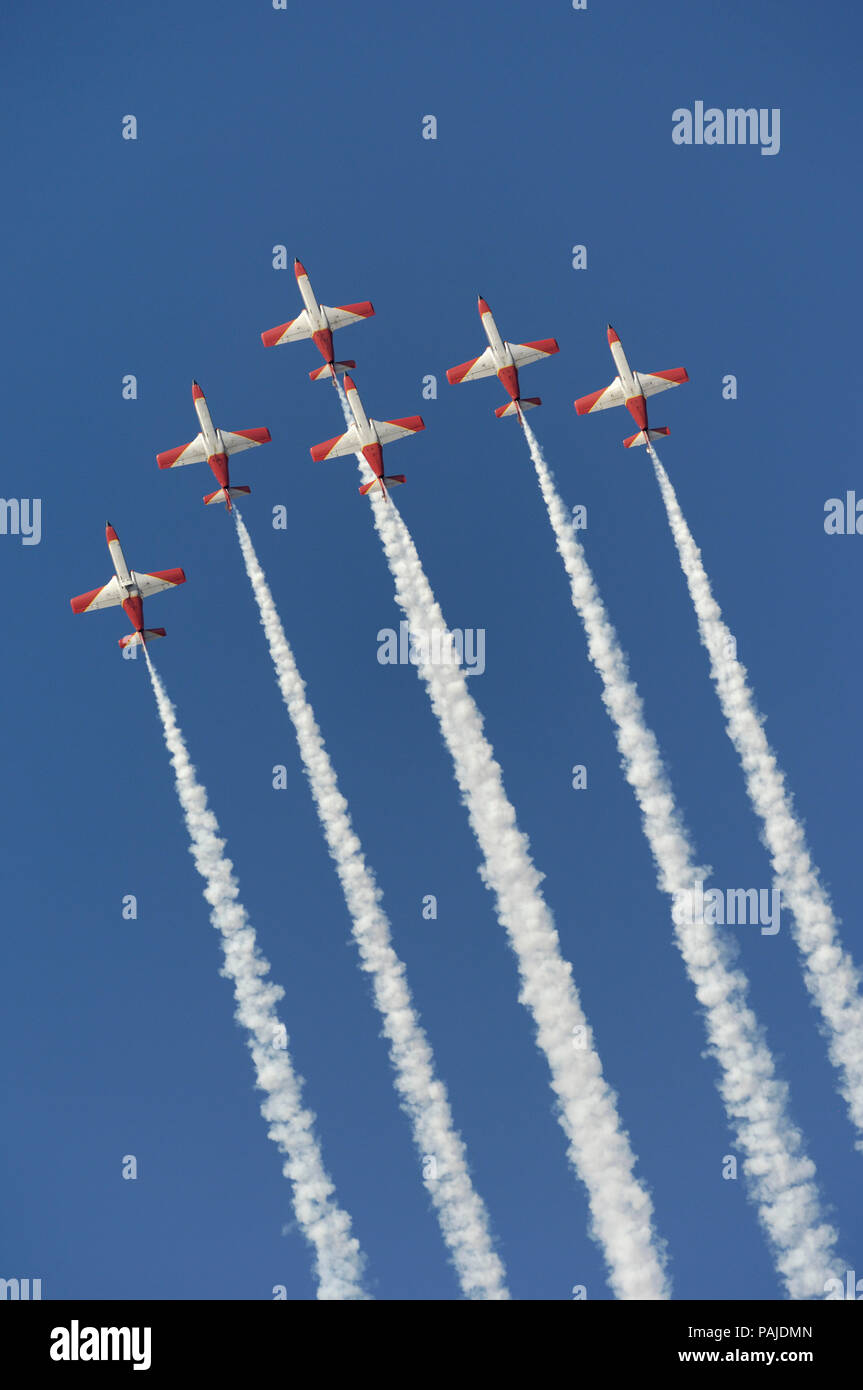 CASA C-101EB Aviojets of Spain - Air Force Patrulla Acrobatica Aguila flying in formation with smoke at Dubai AirShow 2007 Stock Photo