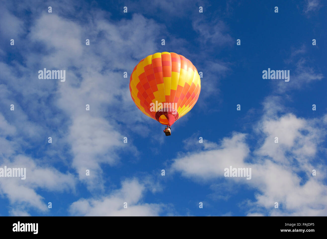 a Kubicek BB-30 hot-air balloon flying Stock Photo