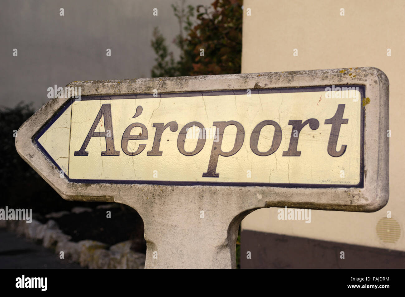 concrete road sign to the airport / Aeroport near Calais, France Stock Photo