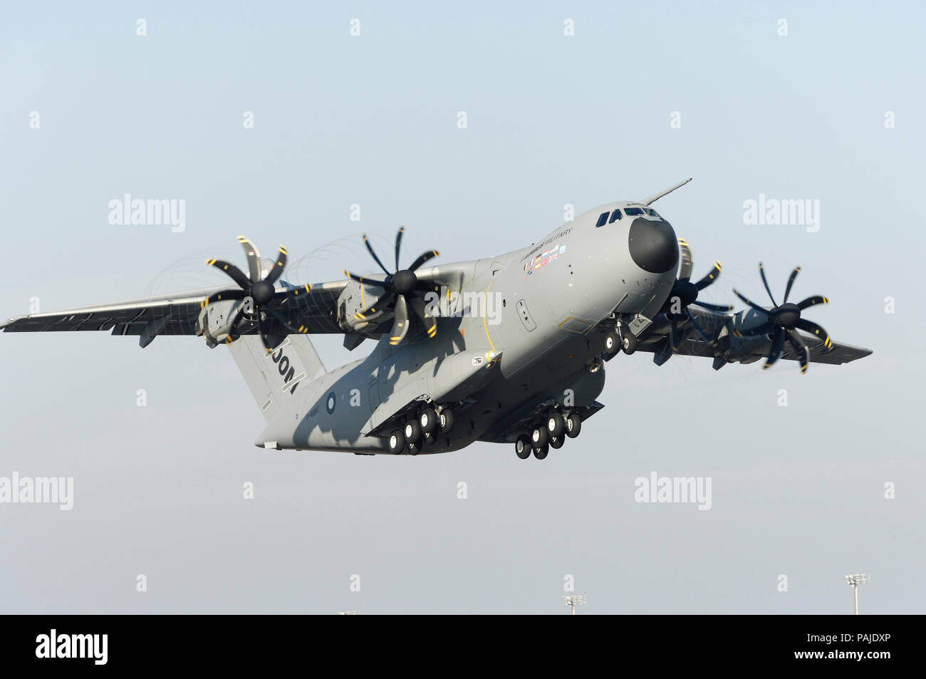 the first-flight take-off of the first Airbus A400M flight-test aircraft at Seville San Pablo 11th December 2009 Stock Photo