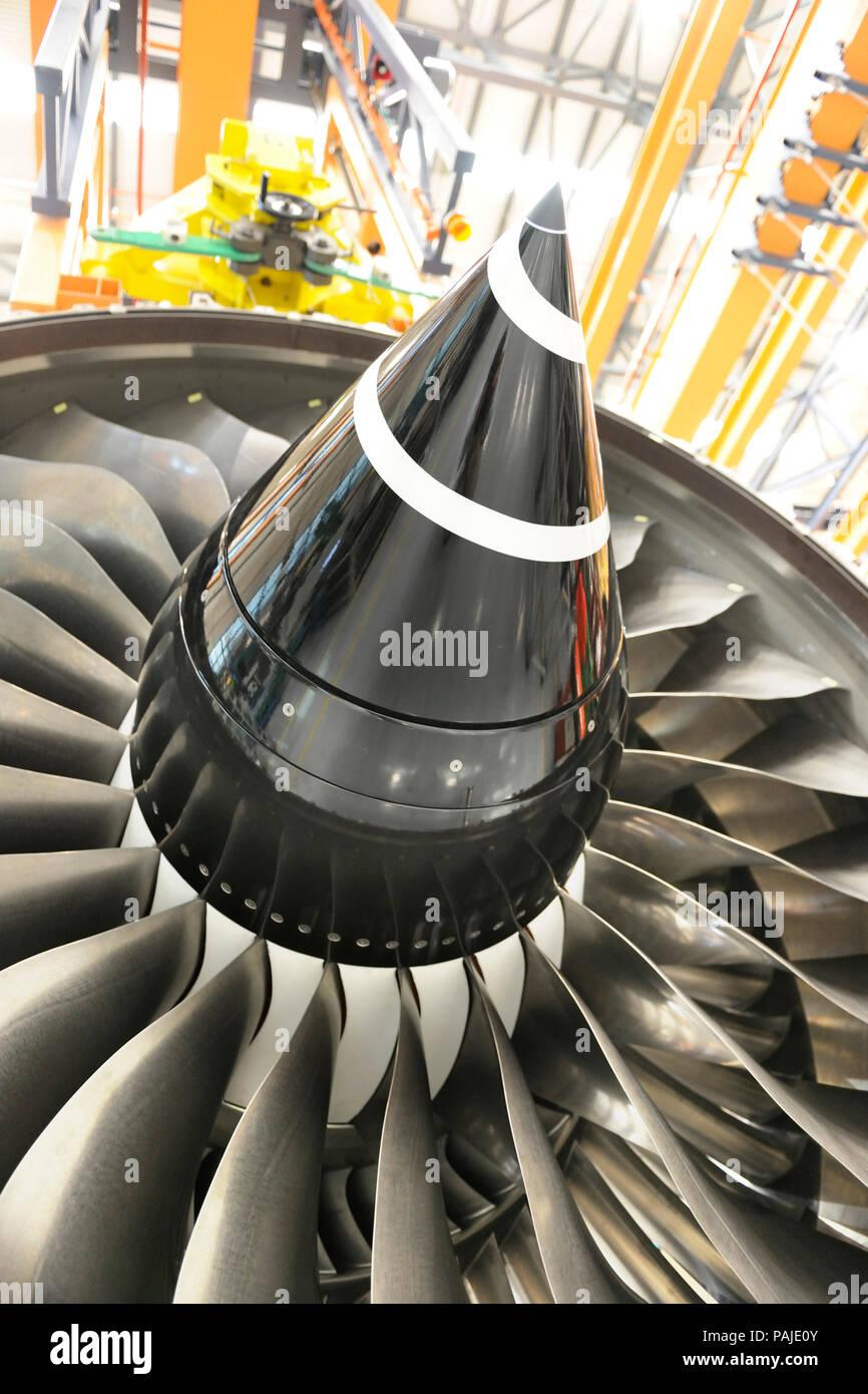 Rolls-Royce Trent 900 jet aero-engine maintenance and overhaul at SAESL Singapore Aero Engine Services Pte Ltd Stock Photo