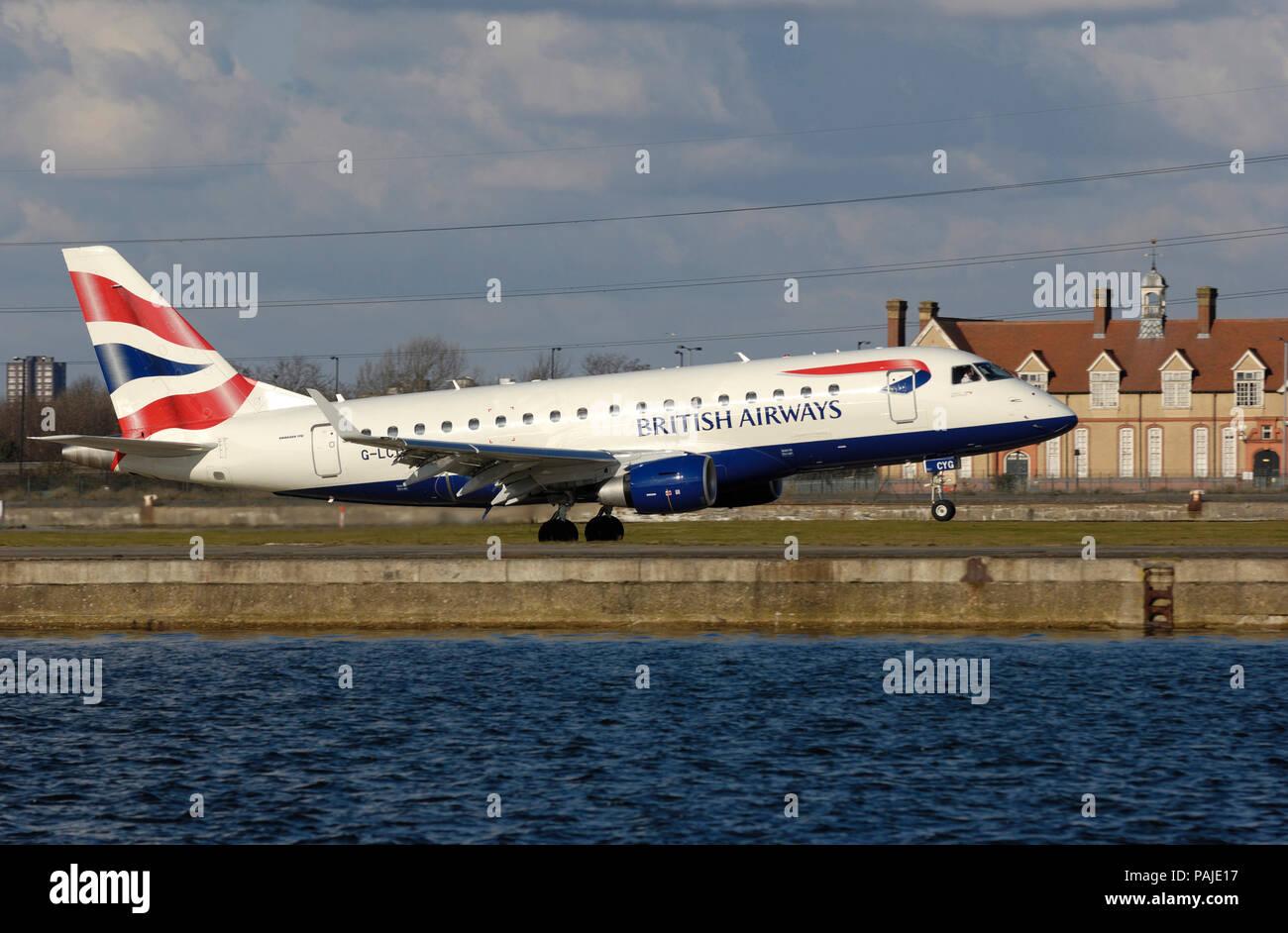 British Airways BA CityFlyer Embraer 170 taking-off Stock Photo