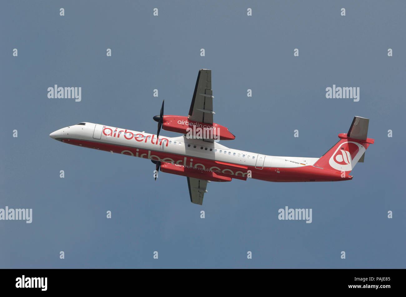 Air Berlin Bombardier DHC-8 Q400 climbing out after take-off - Stock Image