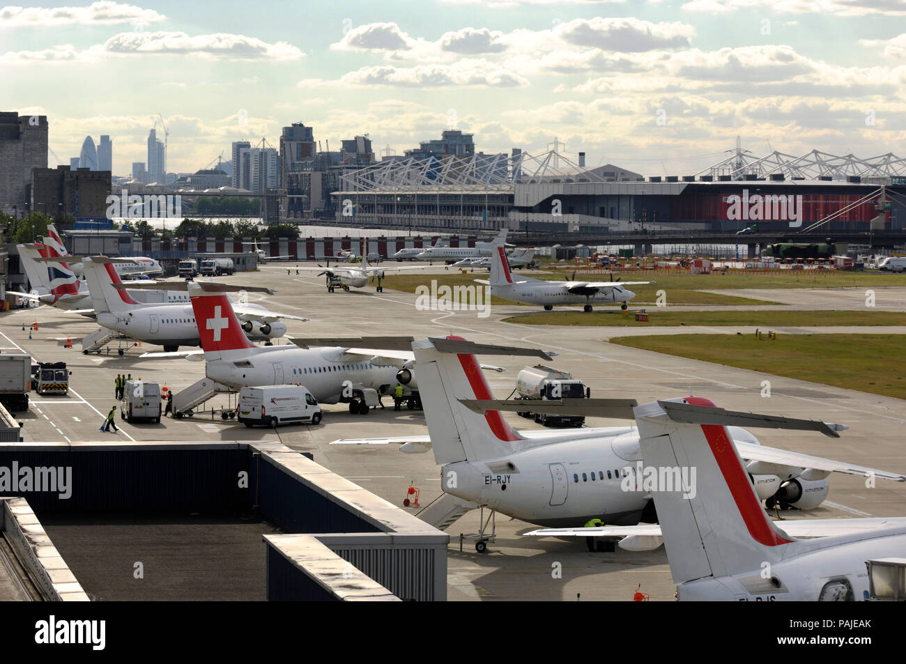 CityJet Fokker F-50 taxiing at London City - Stock Image