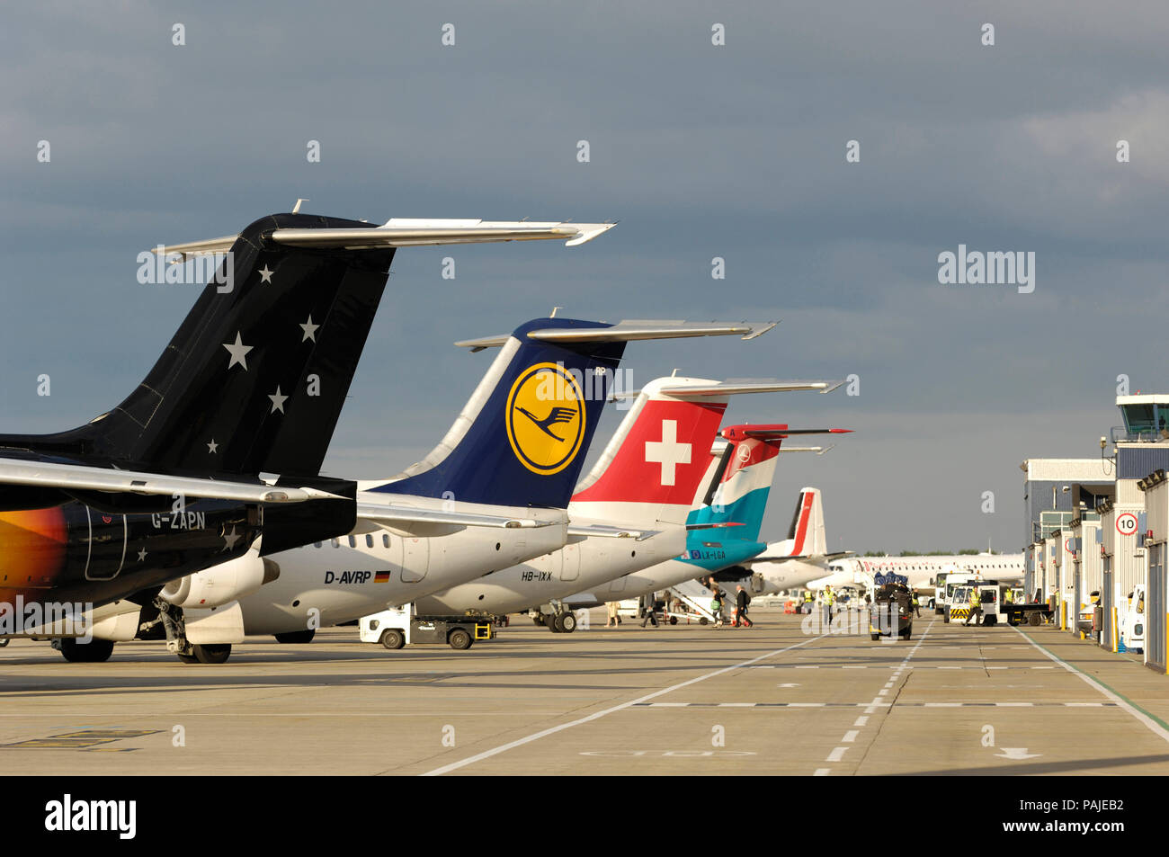 tail-fins of Titan Airways BAE 146-200 QC with Lufthansa Regional BAE 146 RJ-85, Swiss RJ-100 and Luxair Bombardier DHC-8 Q400 parked behind at London - Stock Image