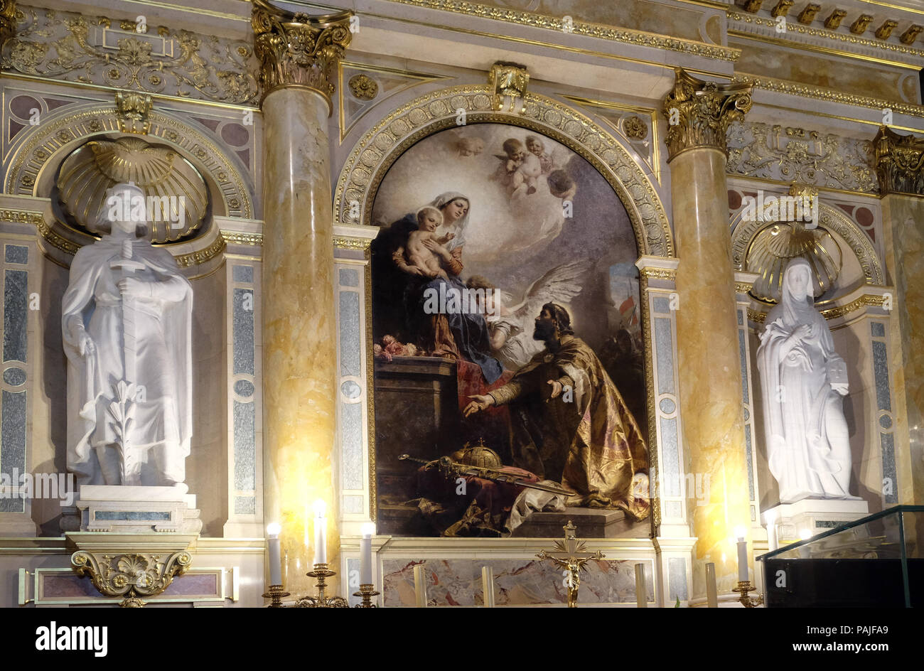 Saint Stephen offers his crown to the Virgin Mary by Gyula Benczur, altar in the St. Stephen`s Basilica in Budapest, Hungary Stock Photo